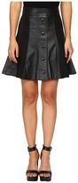 Just Cavalli Suede/Leather Panel Snap Front Skirt