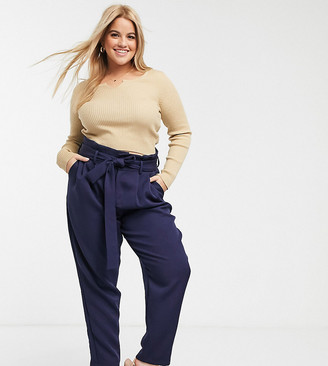 In The Style Plus In The Style x Laura Jade Plus woven trouser in navy
