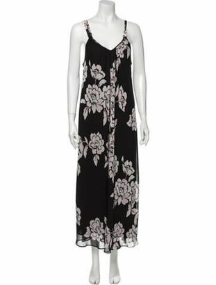 Oscar de la Renta Floral Print Long Dress Black
