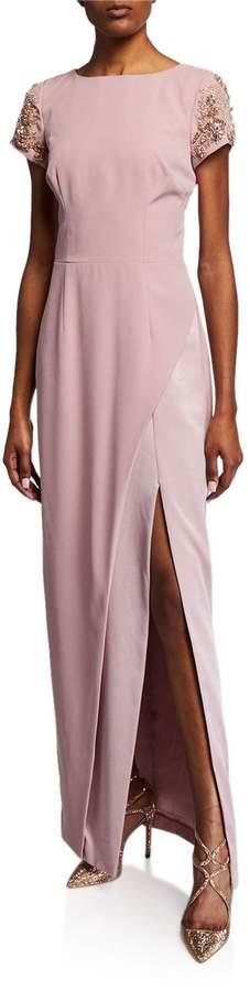 David Meister Crepe Column Gown w\/ Beaded Sleeves