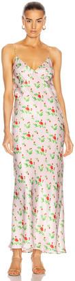 BERNADETTE Jeanette Silk Satin Slip Dress in Red Crayon Rose On Pink | FWRD