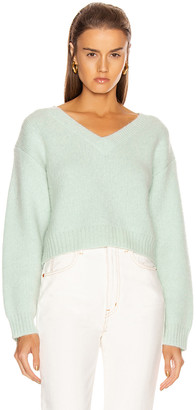 John Elliott Foggy Cropped V Neck Sweater in Celadon | FWRD