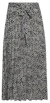 Dorothy Perkins Womens Black Mono Animal Print Pleated Midi Skirt, Black