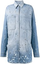 Faith Connexion embellished denim shirt - women - Cotton/Polyester/Spandex/Elastane/glass - S