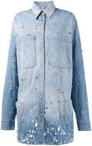 Faith Connexion embellished denim shirt - women - Cotton/Spandex/Elastane/glass/Brass - S