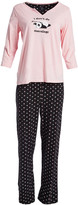 Rene Rofe Women's Sleep Bottoms CONVERCHAR - Pink & Black 'I Don't Do Mornings' Notch-Neck Pajama Set - Women