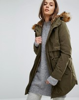 Parka London Lara Classic Parka Jacket with Faux Fur Lined Hood