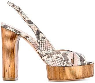 Casadei Linda snakeskin print platform sandals