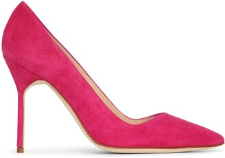 Manolo Blahnik BB 105 dark pink suede pumps
