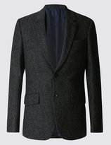 Marks And Spencer Single Breasted Barleycorn Jacket With Buttonsafetm