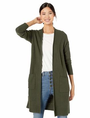 Goodthreads Wool Blend Honeycomb Longline Cardigan Sweater Olive Heather S