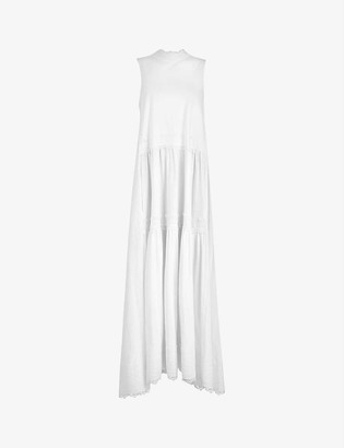 AllSaints Tier lace-trimmed cotton maxi dress