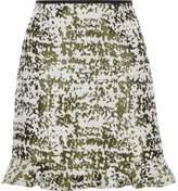 River Island Womens Green burnout print frill hem mini skirt