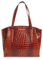 Brahmin 'Paris' Croc Embossed Leather Tote - Brown