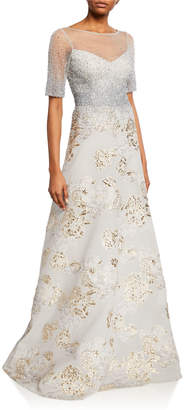 Rickie Freeman For Teri Jon Elbow-Sleeve A-Line Gown w/ Beaded Top & Jacquard Burnout Skirt