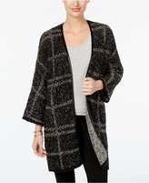 JM Collection Faux-Leather-Trim Plaid Cardigan, Only at Macy's