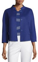 Armani Collezioni Double-Faced Wool 3/4-Sleeve Jacket, Blue Violet