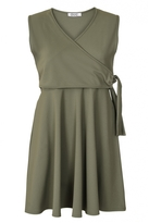 Quiz Curve Khaki V Neck Wrap Front Dress