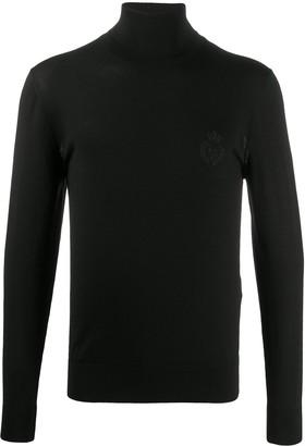 Dolce & Gabbana Embroidered Crest Knit Turtleneck
