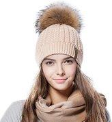 FURTALK Crochet Knit Fur Hat with Real Fox Fur Pom Pom Bobble Winter Beanie Hat