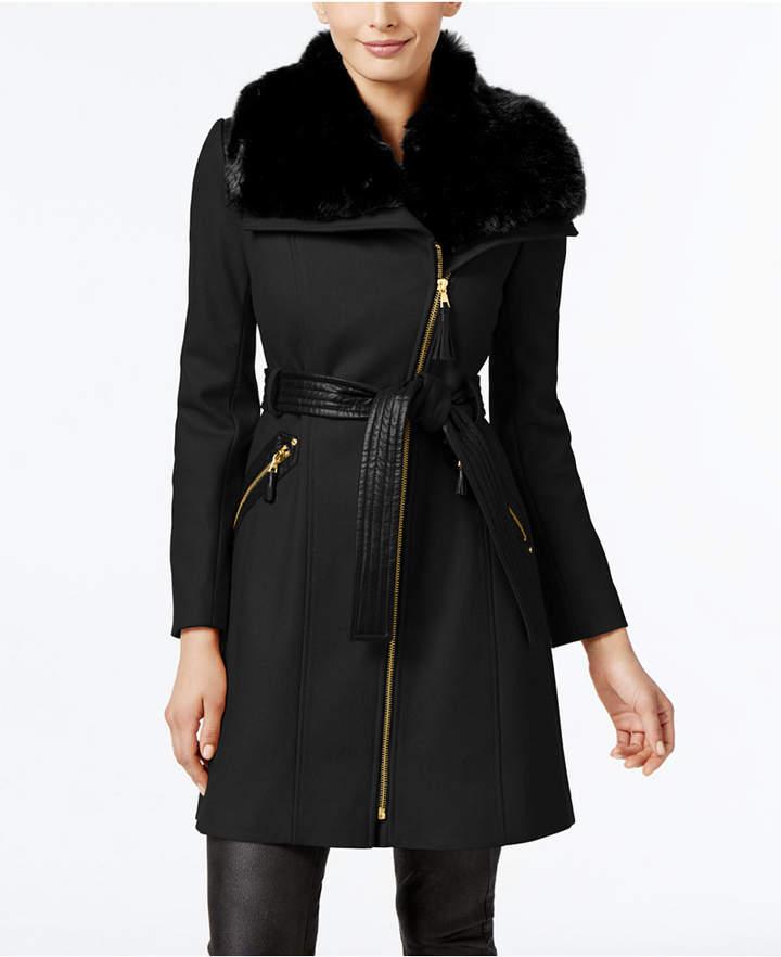 Via Spiga Faux-Fur-Collar Asymmetrical Coat