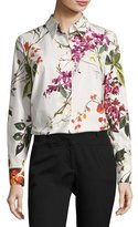 Escada Floral-Print Cotton Shirt, White/Multicolor