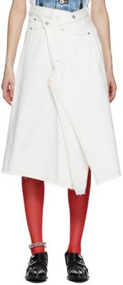 Junya Watanabe White Denim Asymmetric Skirt