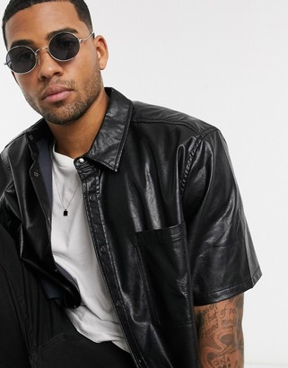 ASOS DESIGN leather look overshirt in black