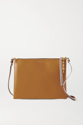 Marni Pochette Large Two-tone Leather Shoulder Bag - Tan