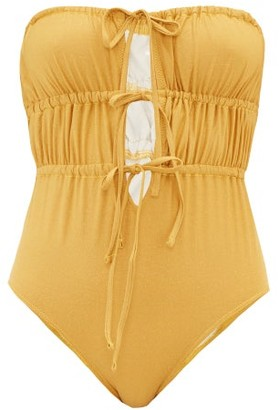 Solid & Striped The Paula Ruched Lame Swimsuit - Womens - Gold