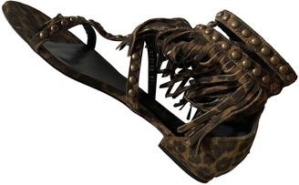 Saint Laurent Beige Suede Sandals