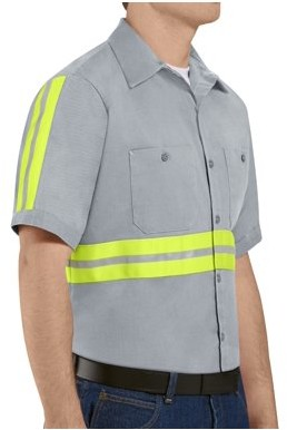 Red Kap Men's Short Sleeve Enhanced Visibility Cotton Work Shirt