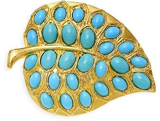 Kenneth Jay Lane Goldplated Turquoise Resin Leaf Pin