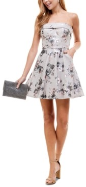 City Studios Juniors' Strapless Glitter Fit & Flare Dress