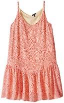 Ikks Reversible Dress with Braided Straps & Drop Waist All Over Print Reverses to Yellow Swiss Dot (Little Kids/Big Kids)