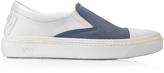 N°21 Cerulean Blue Satin & White Leather Slip-on Sneaker
