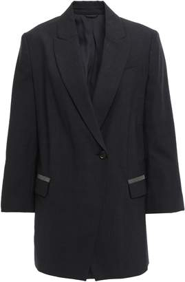 Brunello Cucinelli Bead-embellished Double-breasted Wool-blend Blazer