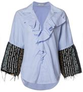 Tome 'Thin Stripe Tweed Ruffle' shirt - women - Cotton - XS