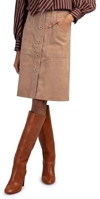 Trina Turk Clyffe Suede Button-Up Skirt