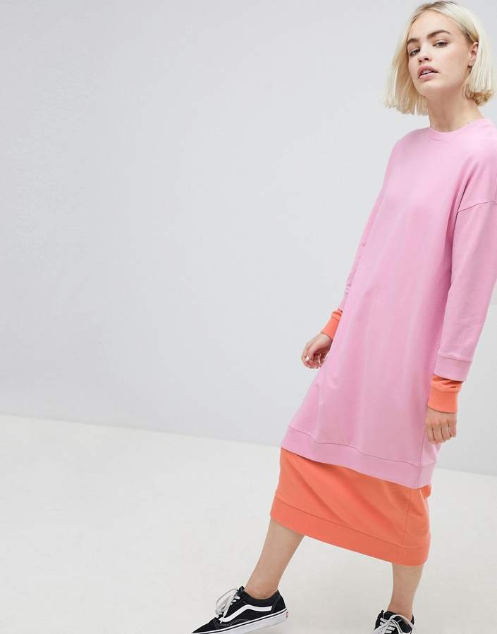 Asos Design Double Layer Colour Block Sweat Dress