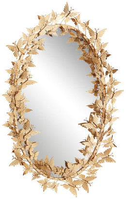 Brimfield & May Large Oval Metallic Gold Butterfly Hanging Wall Mirror
