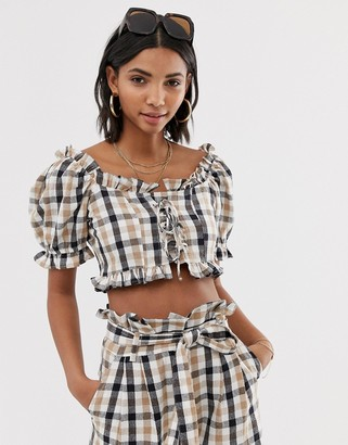 Neon Rose tea blouse with puff sleeves in check two-piece-Brown