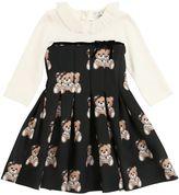 MonnaLisa Milano Jersey & Printed Neoprene Dress