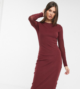 Asos Tall ASOS DESIGN Tall super soft bodycon midi with mesh insert sleeve dress in oxblood
