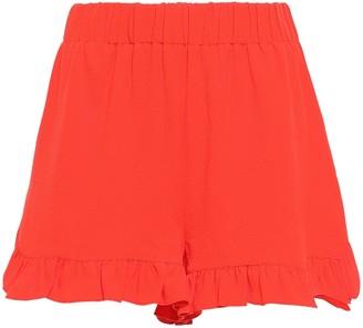 Ganni Clark Ruffle-trimmed Stretch-crepe Shorts