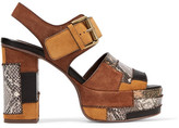 See by Chloe Patchwork Snake-effect Leather And Suede Platform Sandals - Tan