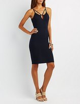 Charlotte Russe Ribbed Caged Bodycon Dress