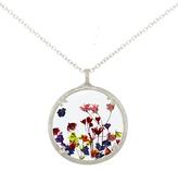 Catherine Weitzman Large Rainbow Gypsophila Round Pendant Necklace, Silver/Multi