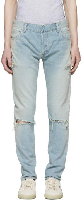 Balmain Blue Six-Pocket Vintage Distressed Jeans