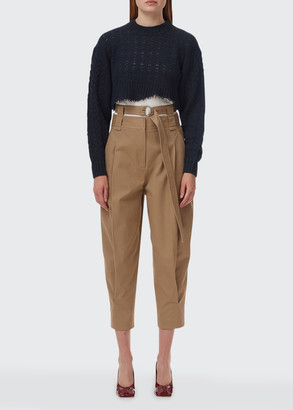 Tibi Myriam Twill Double-Waist Sculpted Pants